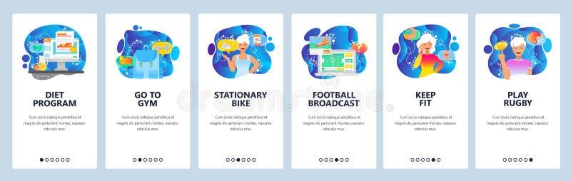 De mobiele toepassing onboarding schermen Geschiktheid, dieet en gezonde levensstijl Voetbal en voetbalspel Menu vectorbanner stock illustratie
