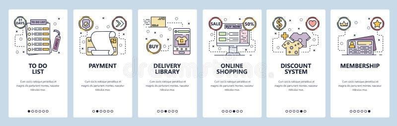 De mobiele toepassing onboarding schermen Online winkelend, betaling, todolijst, kortingskaart, levering Malplaatje van de menu h vector illustratie