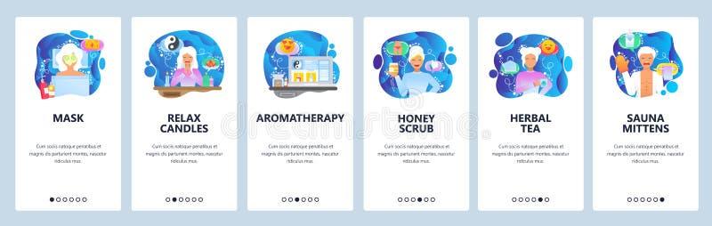 De mobiele toepassing onboarding schermen De schoonheidssalon en de KUUROORDkliniek, gezichtsmasker, honing schrobben, sauna Malp stock illustratie