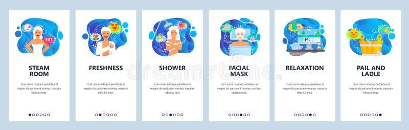 De mobiele toepassing onboarding schermen De stoomsauna, douche, gezichtsmasker, ontspant en zen Malplaatje van de menu het vecto vector illustratie