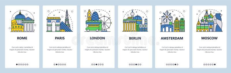 De mobiele toepassing onboarding schermen Toerist die, de stedenoriëntatiepunten van Europa, reis Europa bezienswaardigheden bezo vector illustratie