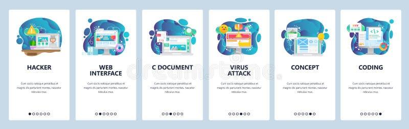De mobiele toepassing onboarding schermen Web en software-ontwikkeling Cyberveiligheid, codage, virusaanval Menu vectorbanner vector illustratie