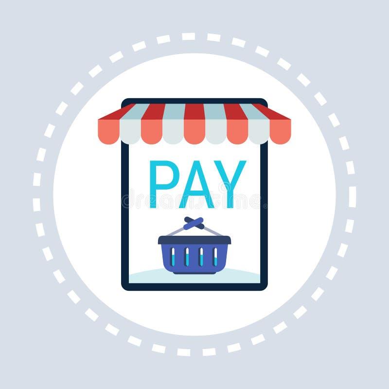 De mobiele toepassings online winkel betaalt vlak knoop het winkelen pictogramconcept royalty-vrije illustratie