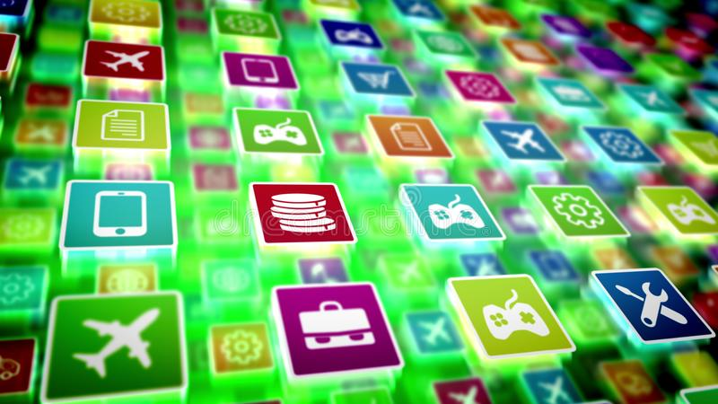 De mobiele toepassingspictogrammen schoten schuin royalty-vrije illustratie