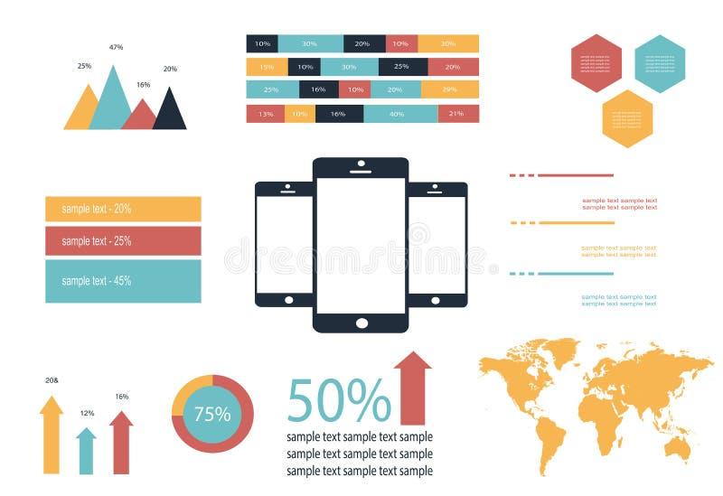 De mobiele vector van Infographicelementen stock foto's