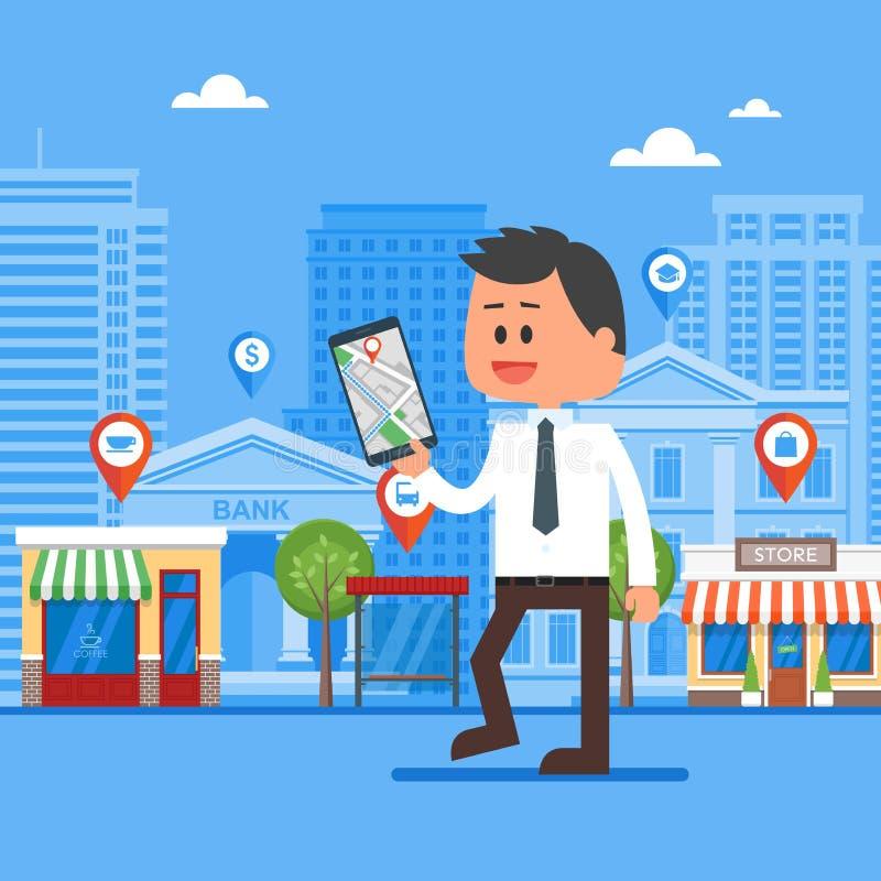 De mobiele vectorillustratie van het navigatieconcept Smartphone van de mensenholding met gps stadskaart op het scherm en route vector illustratie