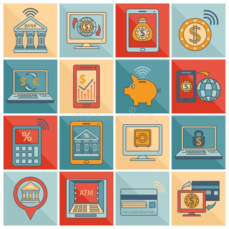 De mobiele vlakke lijn van bankwezenpictogrammen stock illustratie