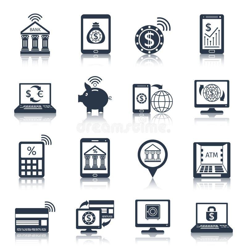 De mobiele zwarte van bankwezenpictogrammen vector illustratie