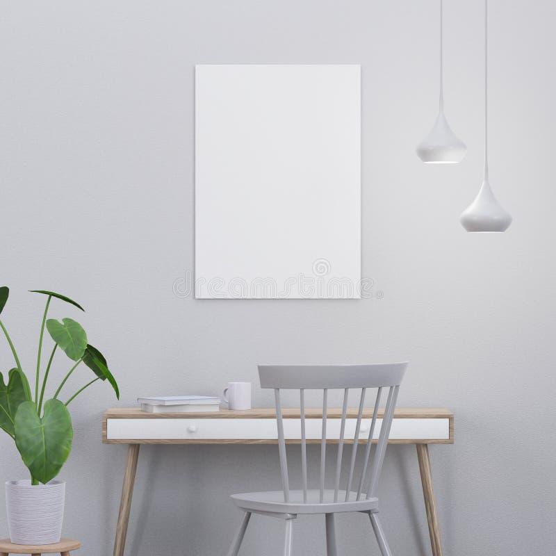 De modelaffiche in een modern binnenland met een 3D console en een stoel, geeft terug stock fotografie