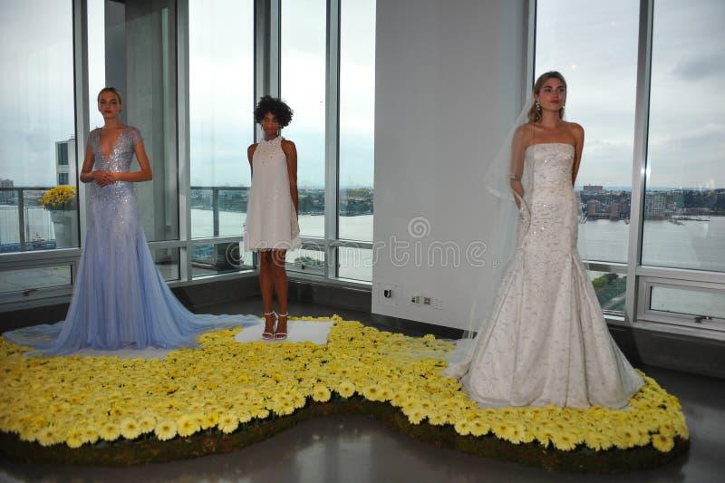 De modellen stellen tijdens de Daling de Bruids Inzameling Pamella Roland Presentation van 2015 stock foto