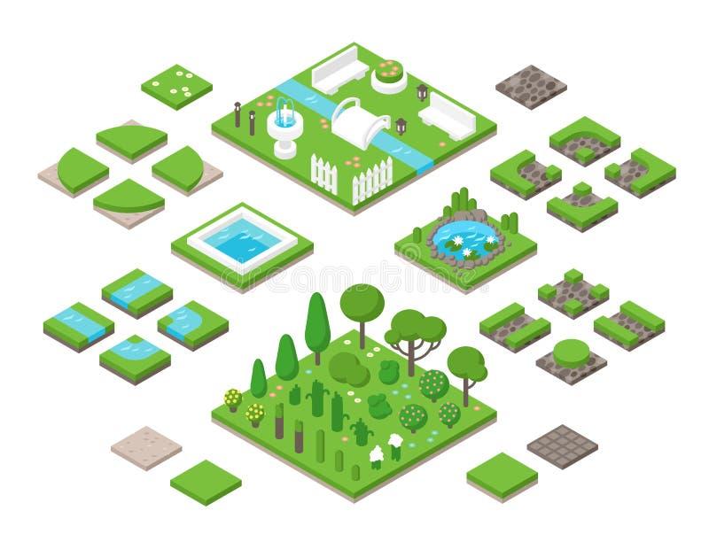 De modellerende isometrische 3d elementen van het tuinontwerp stock illustratie
