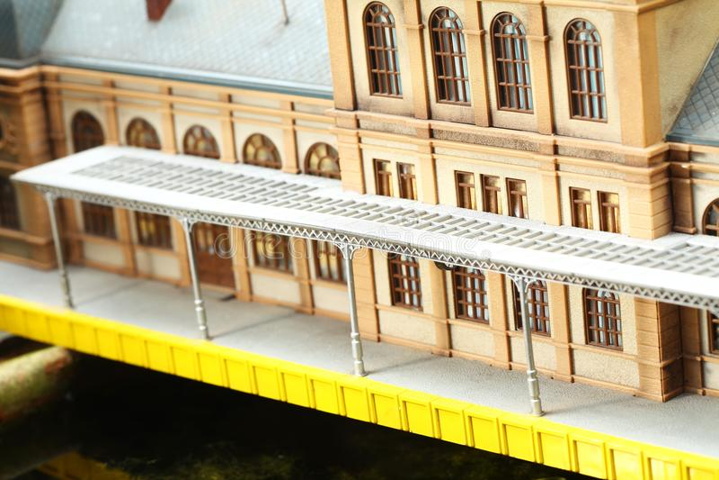 De modelscène van de spoorwegpost royalty-vrije stock foto's