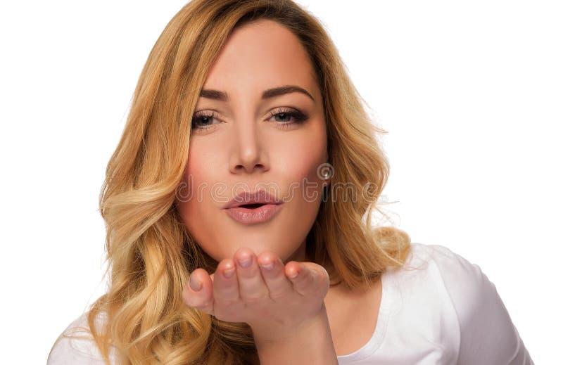 De modelvrouw van het blondehaar Vrouwelijk portret Het schot van de studio royalty-vrije stock afbeeldingen