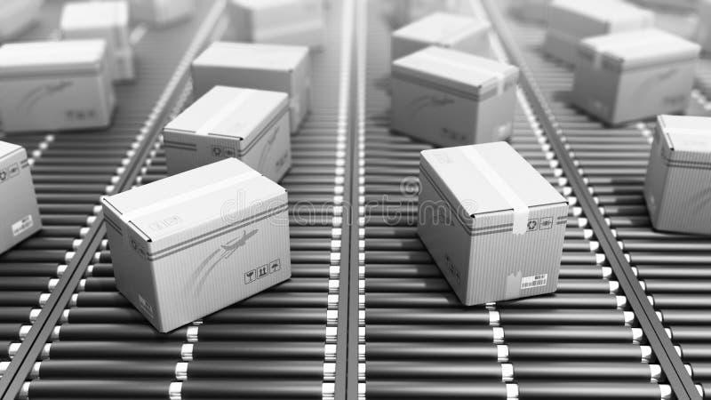 De modern verpakkend dienst van de Pakkettenlevering en pakkettenvervoer stock illustratie