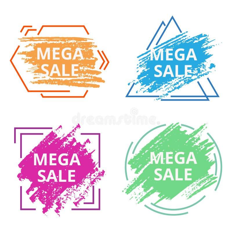 De moderne abstracte banner van de bevorderings vierkante gradiënt met lijnen en vloeibare vormen royalty-vrije illustratie
