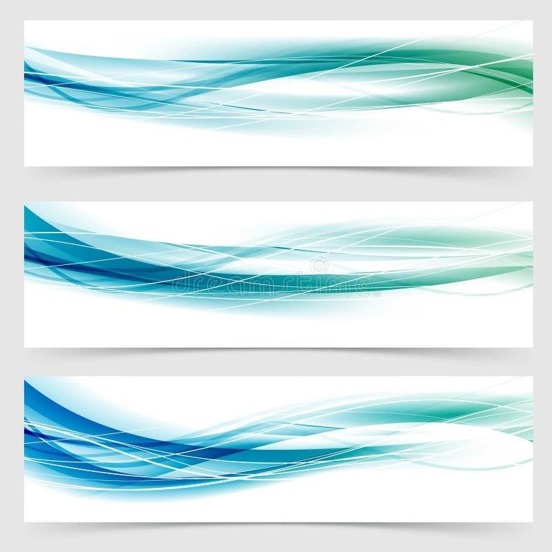 De moderne abstracte groenachtig blauwe inzameling van de lijnkopbal stock illustratie