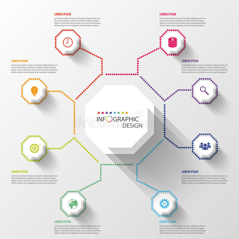 De moderne Achthoek bedrijfs van Infographics Vector illustratie stock illustratie