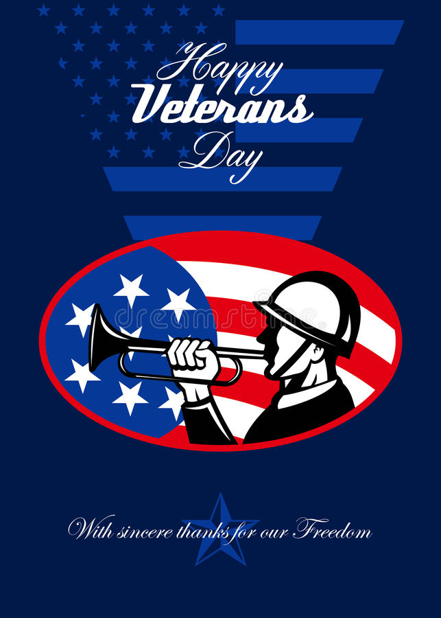 De moderne Amerikaanse Militair Greeting Card van de Veteranendag stock illustratie