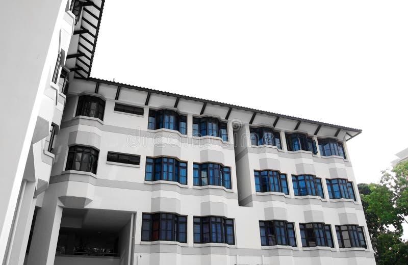 De moderne architectuur van de schoolherberg stock afbeeldingen