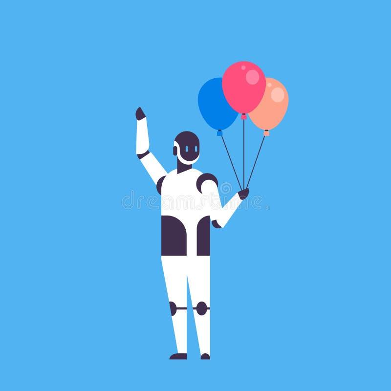 De moderne ballons die van de robotholding bot van de gebeurtenishelper het concepten blauwe achtergrond vieren van de kunstmatig vector illustratie