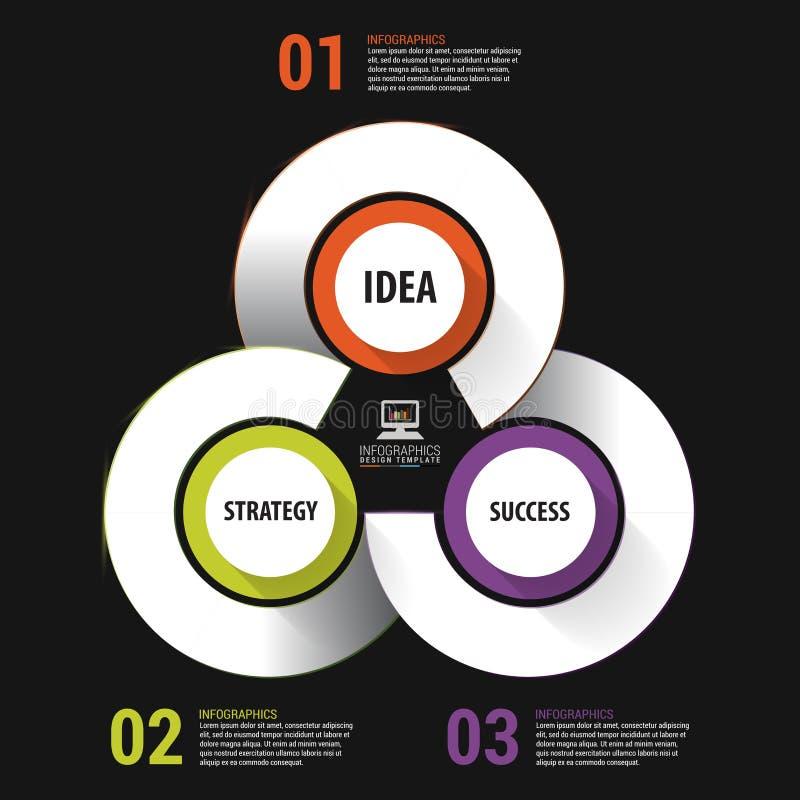 De moderne banner van infographicsopties met 3 deel Vector illustratie stock illustratie