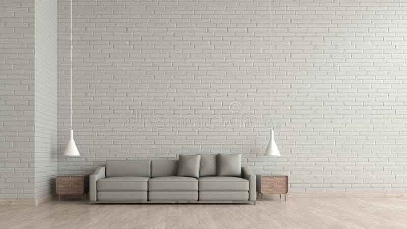 De moderne binnenlandse muur van de de baksteentextuur van de woonkamer houten vloer witte met grijs bankmalplaatje voor het onec stock illustratie