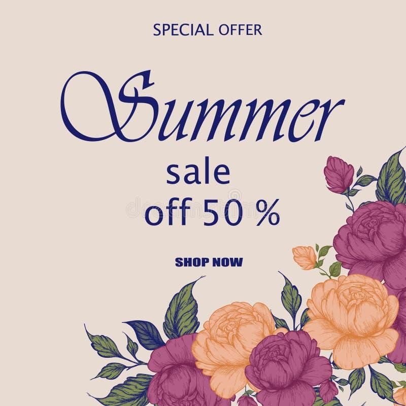 De moderne bloemen vectordag van kunstvalentine ` s, Moeder` s Dag, verkoop en andere vector illustratie