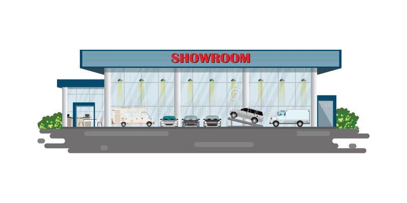 De moderne bouw van de het centrumtoonzaal van het autohandel drijven stock foto's