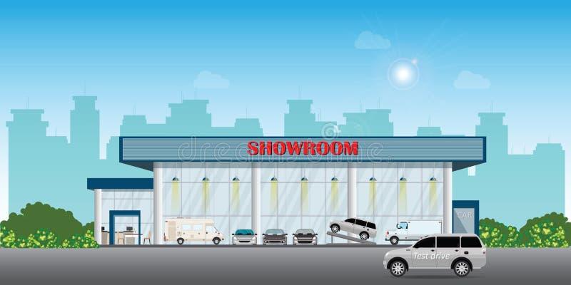 De moderne bouw van de het centrumtoonzaal van het autohandel drijven omvat auto's op de vertoning en testaandrijvingsauto royalty-vrije stock foto
