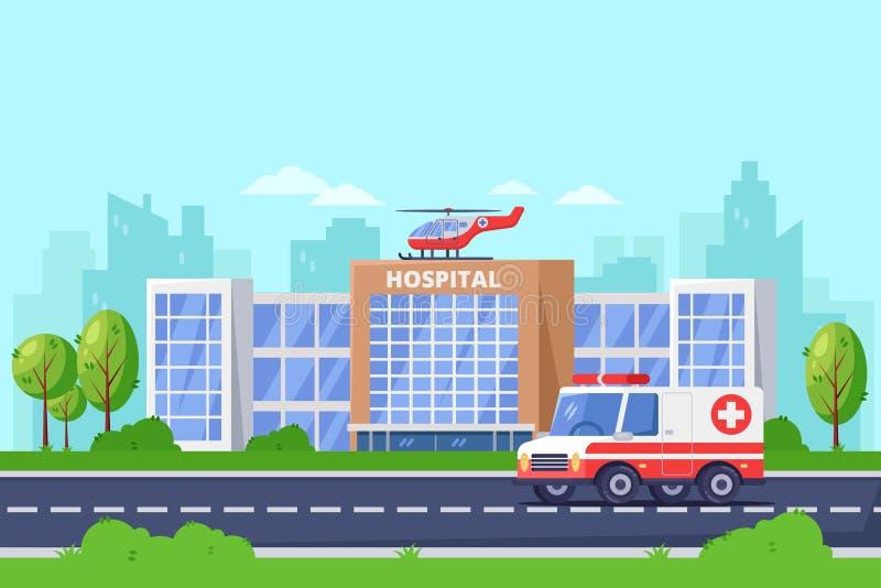 De moderne bouw van het stadsziekenhuis, vector vlakke illustratie Kliniek medisch centrum, ziekenwagenauto en helikopter op dak vector illustratie