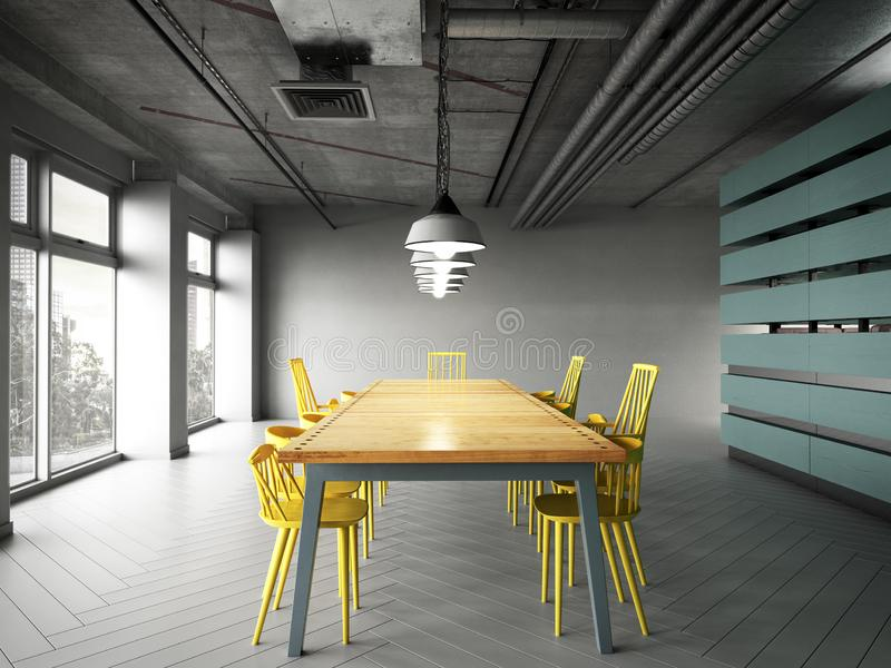 De moderne bureauruimte met lijsten en 3d de stoelen geven terug royalty-vrije illustratie