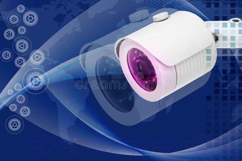 De moderne camera van veiligheidskabeltelevisie Dubbele blootstelling royalty-vrije stock afbeelding