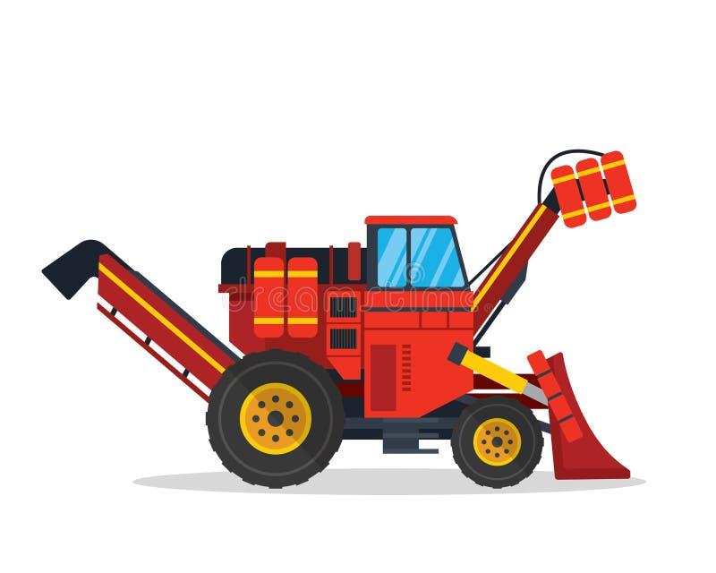 De moderne Cane And Sugar Harvesting Agriculture-Illustratie van het Landbouwbedrijfvoertuig vector illustratie