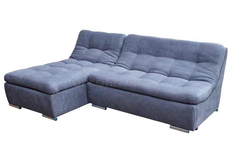 De moderne comfortabele bank van de gast grijze grote hoek op een witte achtergrond stock foto's