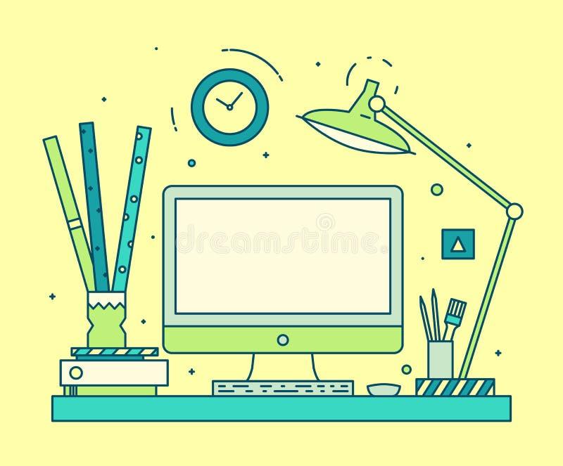 De moderne computer van de de ruimte lineaire stijl van het ontwerperwerk vector illustratie