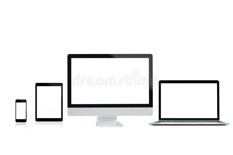 De moderne computerlaptop mobiele telefoon en de tablet isoleren op witte achtergrond voor model, het 3D teruggeven stock afbeelding