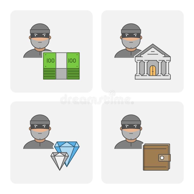 De moderne diefstal van de pictogrambank royalty-vrije illustratie