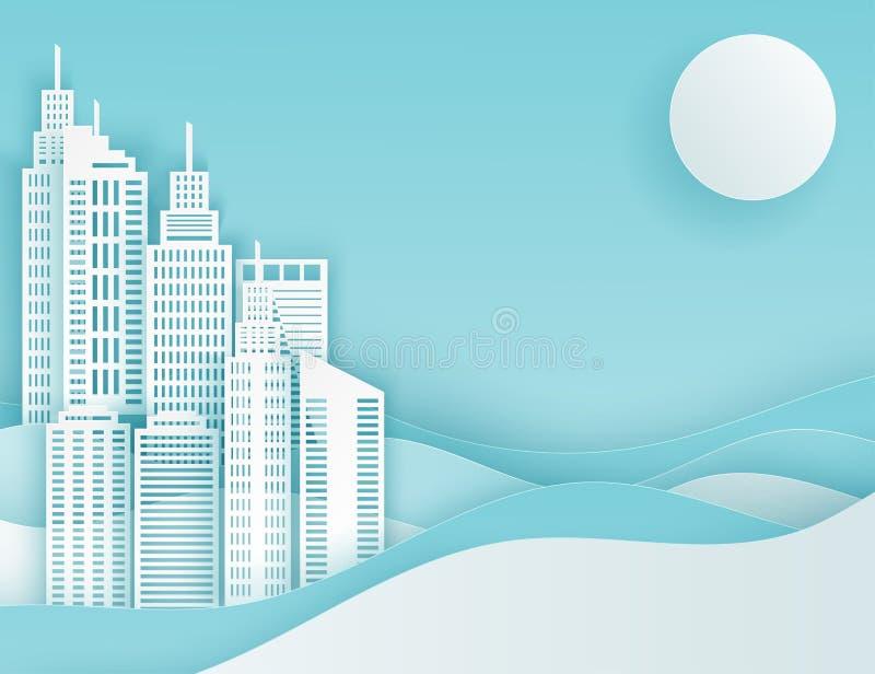 De moderne document mening van de kunststad Witte scycrapers, zon, golven vector illustratie