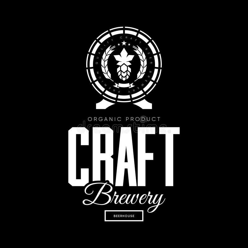 De moderne drank van het ambachtbier isoleerde vectorembleemteken voor brouwerij, bar, brouwerij of bar stock illustratie