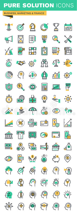 De moderne dunne reeks van lijnpictogrammen bedrijfseconomie, financiën, menselijke hersenenproces en kansen royalty-vrije illustratie