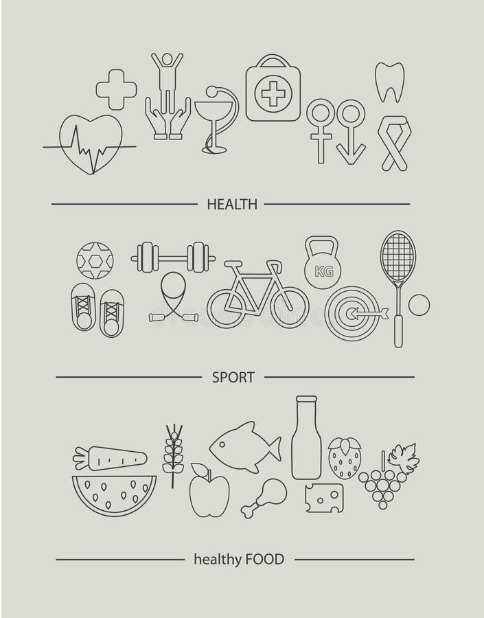 De moderne dunne reeks van lijnpictogrammen van gezondheidslevensstijl stock illustratie