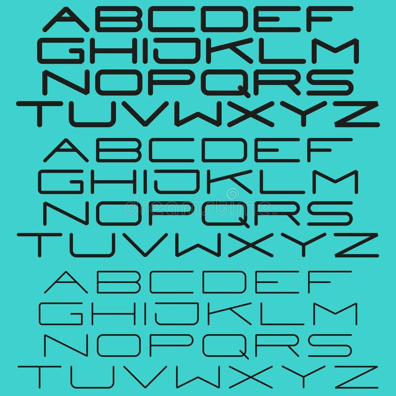 De moderne eenvoudige lichte en vette letters van doopvont zonder-serif voor typografie, de kopbalplaats van het elementenontwerp stock illustratie