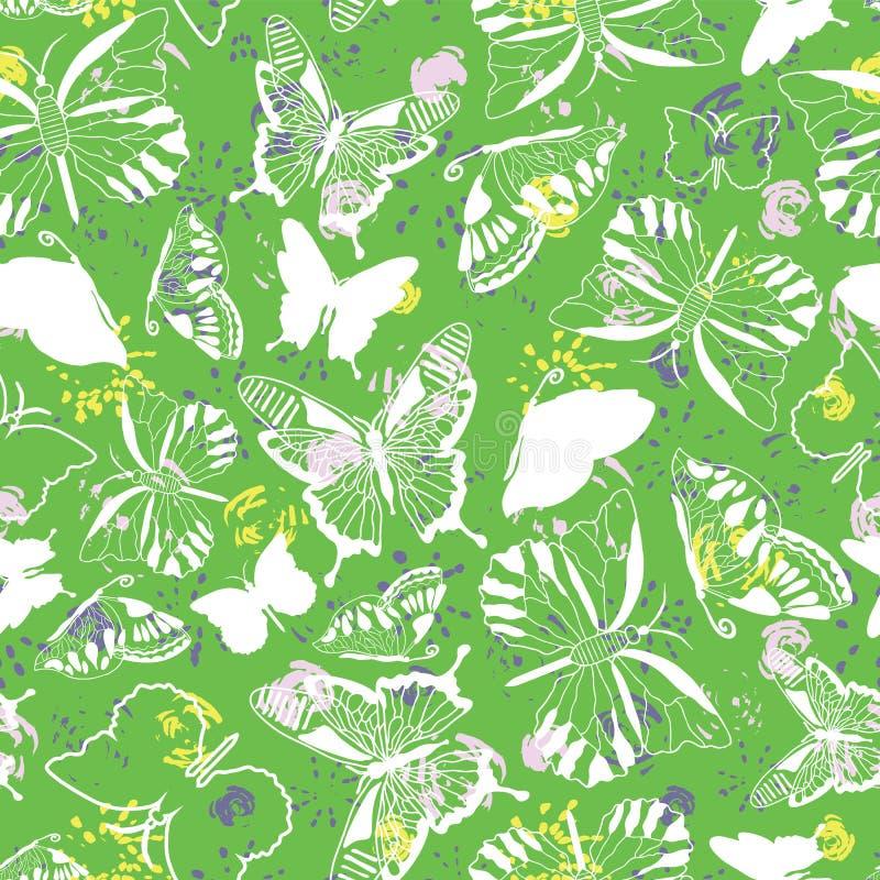 De moderne elegante witte vlinder silhouetteert op abstracte kwaststreekbloemen en de lente groene achtergrond Naadloos vectorpat stock illustratie