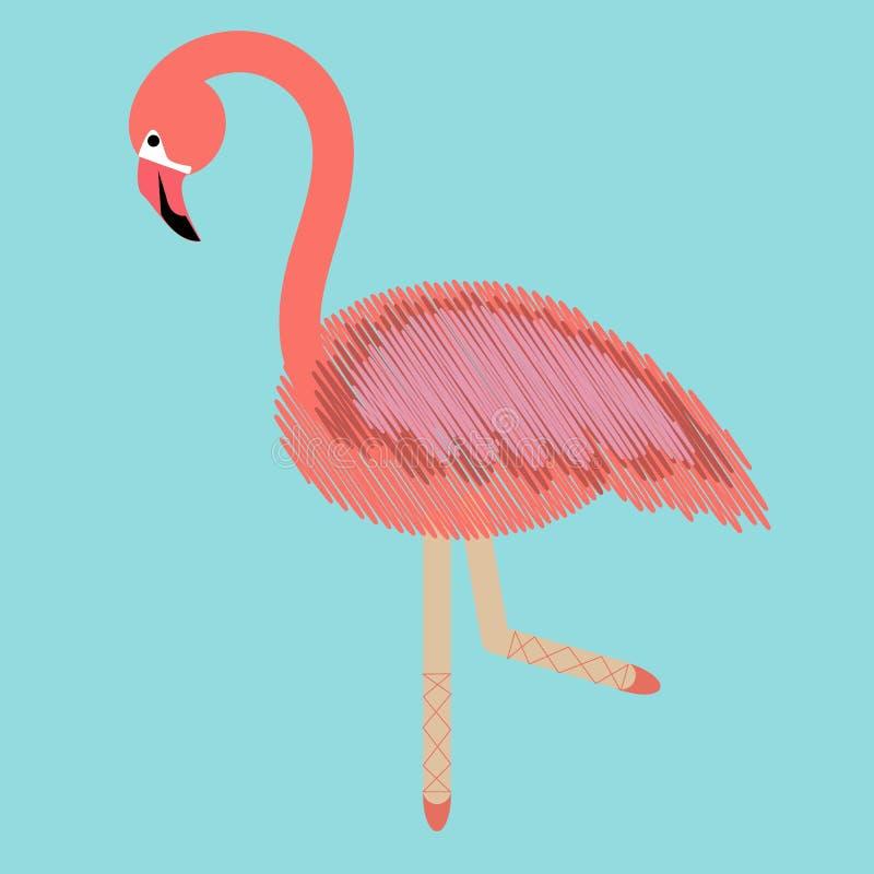 De moderne flamingo van de kunstcollage met ballerinabenen, groot ontwerp voor om het even welke doeleinden combinatie van borduu stock illustratie
