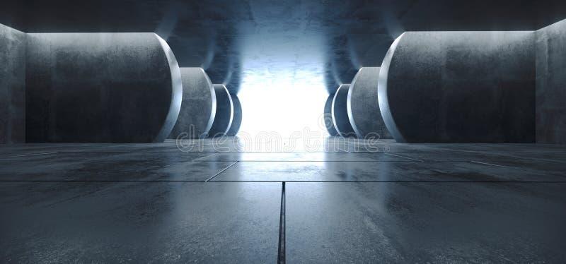 De moderne Futuristische Sc.i-Concrete Grunge Weerspiegelende van de de Ganggarage van de Betegelde Vloerkolommen van FI Ondergro vector illustratie