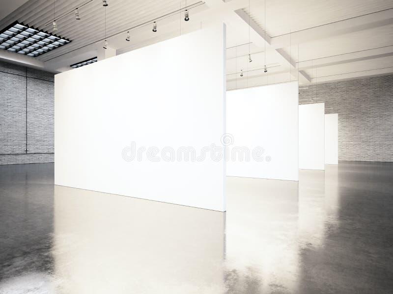De moderne galerij van de fotoexpositie, open plek Lege witte lege canvas eigentijdse industriële plaats Eenvoudig binnenlandse z royalty-vrije stock afbeelding