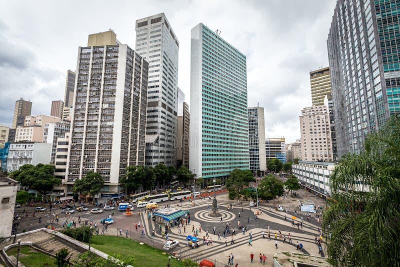De moderne gebouwen op de centrumeconomische sector van Rio de Janeiro, dichtbij Sata Teresa stock afbeelding