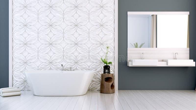 De moderne heldere 3D badkamers geeft terug royalty-vrije stock afbeeldingen