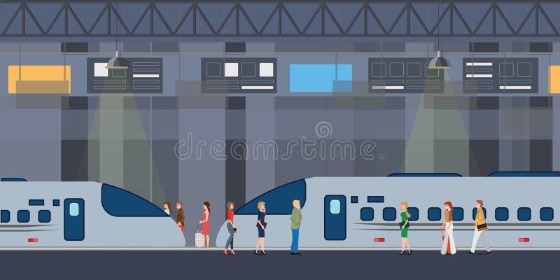 De moderne hoge snelheidstreinen hielden bij station en mensen op die en zich op platform bevinden lopen royalty-vrije illustratie