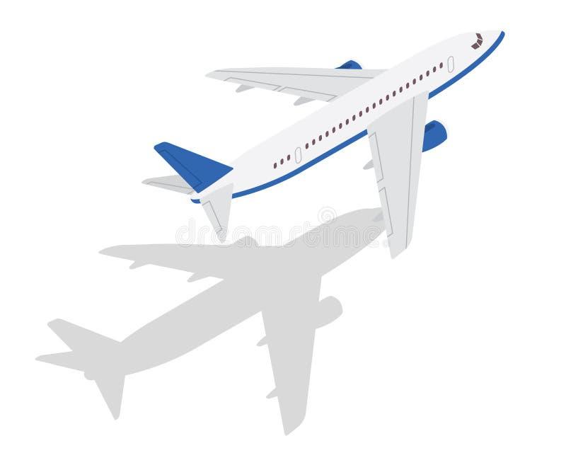 De moderne Isometrische Blauwe Commerciële Illustratie van het Vliegtuigluchtvervoer stock illustratie